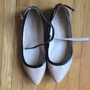 BCBGeneration nude ankle strap pointy flats